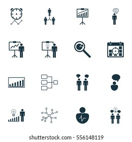 Set Of 16 Authority Icons. Includes Solution Demonstration, Report Demonstration, Company Statistics And Other Symbols. Beautiful Design Elements.