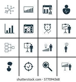 Set Of 16 Board Icons. Includes Project Presentation, System Structure, Special Demonstration And Other Symbols. Beautiful Design Elements.