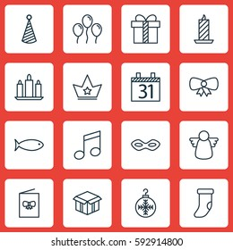Set Of 16 Christmas Icons. Includes Fire Wax, Open Cardboard, Wax And Other Symbols. Beautiful Design Elements.