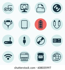 Set Of 16 Computer Hardware Icons. Includes Aux Cord, Laptop, File Scanner And Other Symbols. Beautiful Design Elements.