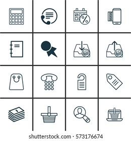 Set Of 16 E-Commerce Icons. Includes Telephone, Discount Coupon, Outgoing Earnings And Other Symbols. Beautiful Design Elements.