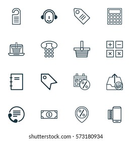 Set Of 16 E-Commerce Icons. Includes Pannier, Ticket, Price And Other Symbols. Beautiful Design Elements.