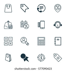 Set Of 16 Ecommerce Icons. Includes Mobile Service, Ticket, Calculator And Other Symbols. Beautiful Design Elements.