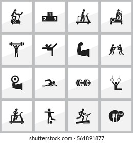 Set Of 16 Editable Exercise Icons. Includes Symbols Such As Football, Executing Running, Training Bike And More. Can Be Used For Web, Mobile, UI And Infographic Design.