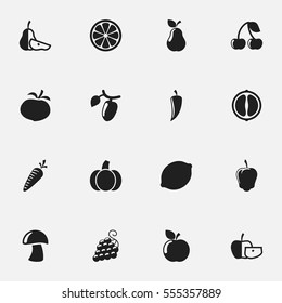 Set Of 16 Editable Kitchenware Icons. Includes Symbols Such As Lime, Orange Slice, Sweet Pepper And More. Can Be Used For Web, Mobile, UI And Infographic Design.