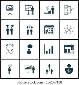 Set Of 16 Executive Icons. Includes Conversation, Bar Chart, Opinion Analysis And Other Symbols. Beautiful Design Elements.