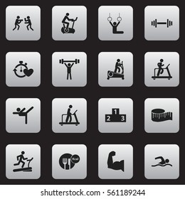 Set Of 16 Fitness Icons. Includes Symbols Such As Jogging, Training Bike, Platform For Winner And More. Can Be Used For Web, Mobile, UI And Infographic Design.