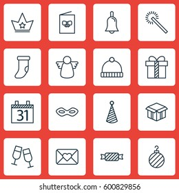Set Of 16 Happy New Year Icons. Includes Date, Open Cardboard, Gift And Other Symbols. Beautiful Design Elements.