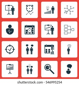 Set Of 16 Management Icons. Includes Reminder, Presentation Date, Approved Target And Other Symbols. Beautiful Design Elements.