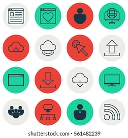 Set Of 16 Online Connection Icons. Includes Followed Website, Human, Team And Other Symbols. Beautiful Design Elements.