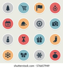 Set Of 16 Simple Christmas Icons. Can Be Found Such Elements As Snow, Ice Man, Christmas Decoration And Other.