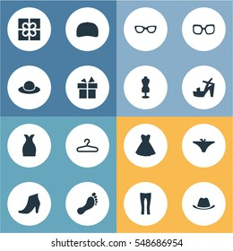 Set Of 16 Simple Dress Icons. Can Be Found Such Elements As Glasses, Attire, Panties And Other.