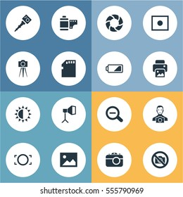 Set Of 16 Simple Photographer Icons. Can Be Found Such Elements As Movable Camcorder, Brilliance, Memory Card And Other.