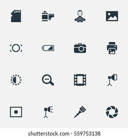 Set Of 16 Simple Photographer Icons. Can Be Found Such Elements As Photograph, Registration, Luminous Origin And Other.