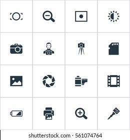 Set Of 16 Simple Photographer Icons. Can Be Found Such Elements As Movable Camcorder, Rustication, Memory Card And Other.