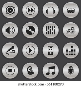 Set Of 16 Song Icons. Includes Symbols Such As Music Phone, Disc, Sound And More. Can Be Used For Web, Mobile, UI And Infographic Design.
