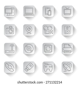 Set of 16 thin line computer technology and electronics icons