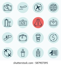 Set Of 16 Travel Icons. Includes Registration Service, Security Scanner, Money Trasnfer And Other Symbols. Beautiful Design Elements.