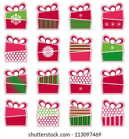 Set of 16 types of Christmas present boxes organized as seamless pattern. Raster version of the vector image