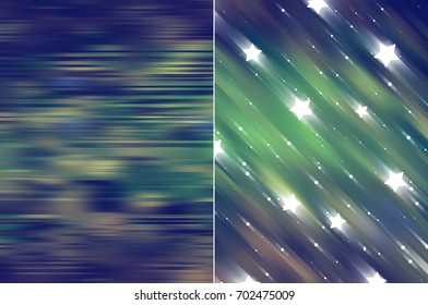 Set 2 of blue and green abstract backgrounds digital illustration.
