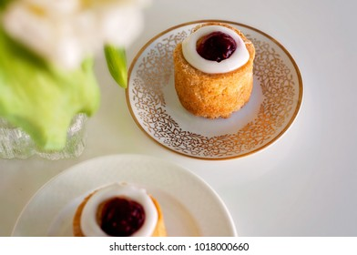 Set for 2. Runeberg's tart or cake is a Finnish traditional dessert and pastry.