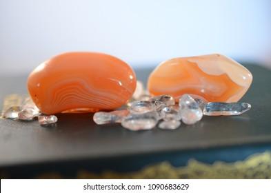 Set of 2 Tumbled Carnelian. Premium quality Carnelian healing stones. Thick and powerful. Premium Quality beautiful banded Carnelian.