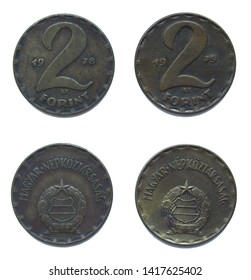 Set of 2 (two) different years Hungarian 2 Forint brass coins lot 1978, 1979 year, Hungary.