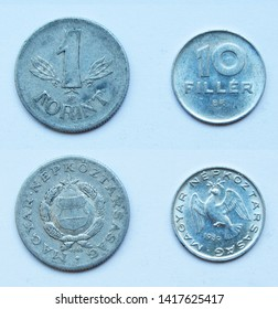Set of 2 (two) different years Hungarian 10 Filler 1989 and 1 Forint 1968 years aluminium coins lot, Hungary.