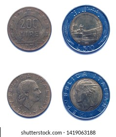 Set of 2 (two) different years Italian 200 Lira 1978 and 500 Lira 1985 years coins lot, Italy.