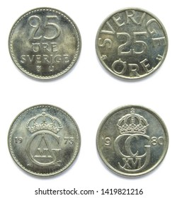 Set of 2 (two) different years Swedish 25 Ore 1973, 1980 years copper-nickel coins lot. Coins show a monograms of Swedish kings Gustaf Adolf VI and Carl XVI Gustaf of Sweden.
