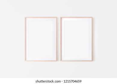 Set of 2 Wooden large 50x70, 20x28, a3,a4, frame mockup with mat on white wall. Poster mockup. Clean, modern, minimal frame. Empty fra.me Indoor interior, show text or product