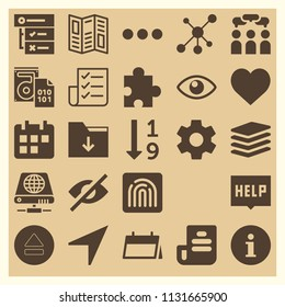 Set of 25 interface filled icons such as eject button, location arrow, wedding planning, piled files, folder, puzzle, hide, view eye interface symbol, info round button