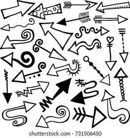 A set of 27 hand drawn doodle style arrow shapes.