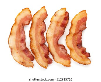 Set of 3 cooked slices of bacon isolated on white background top view close up