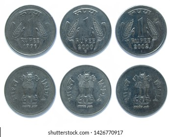 Set of 3 (three) Indian 1 Rupee different years stainless steel coins lot 1996, 2000, 2002 year, India. The coins feature a wheat ears, the State Emblem of India, Lion Capital of Ashoka at Sarnath.