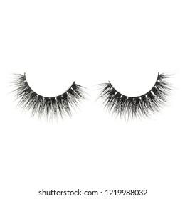 A set of 3D glued black mink hair artificial eyelash extensions