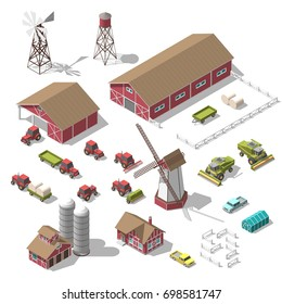 A set of 3D isometric elements for the infographics of a farm or game. illustration of an isolated object on a white background