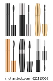 Set of 3d realistic blank template of black, golden and silver metallic tubes with mascara and different types of brush. Container of cosmetic product for eye beauty. Illustration on white background.