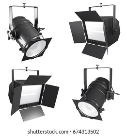 Set of 3d spotlight, soffit or floodlight isolated on white background. Collection of Stage lighting illustration