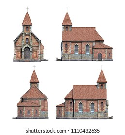 Set of 3d-renders of old cathedral