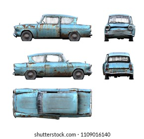 Set of 3d-renders of old rusty classical car