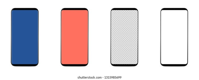 set of 4 bezel-less smartphones with blank transparent screen, isolated on white background . Screen is cut out with path