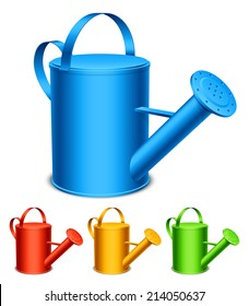 Set of 4 color watering cans.