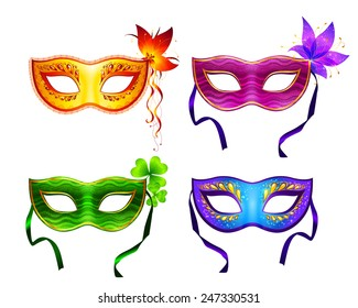 Set of 4 colorful decorated carnival masks