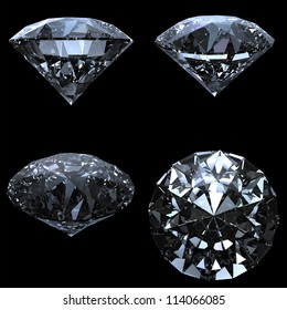 Set of 4 diamonds with clipping path