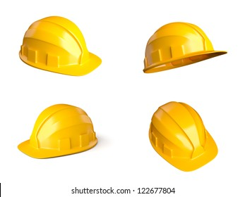 Set of 4 different views of helmets