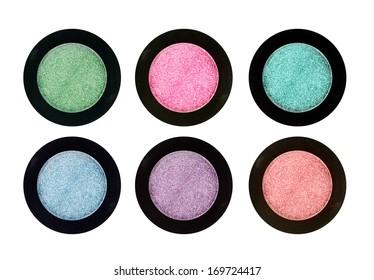 Set of 4 eye shadows isolated on white isolated on white background