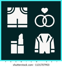 Set of 4 fashion filled icons such as jacket, wedding, lipstick