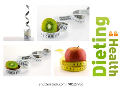 set of 4 healthy foods and fruits wrapped in white and yellow measuring tape.