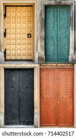 Set of 4 old doors and from Lvov, Ukraine. Examples of world architectural heritage.